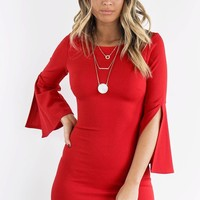 Feeling Iconic Red Long Sleeve Dress
