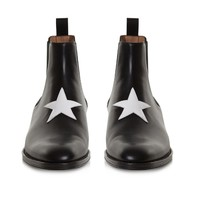 Indie Designs Givenchy Inspired Star Applique Leather Chelsea Boots