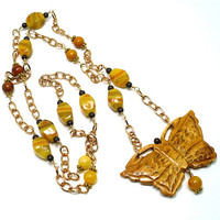 "Bone Butterfly, Yellow Lampwork, Gemstones, Bronze Chain 36"" Necklace"
