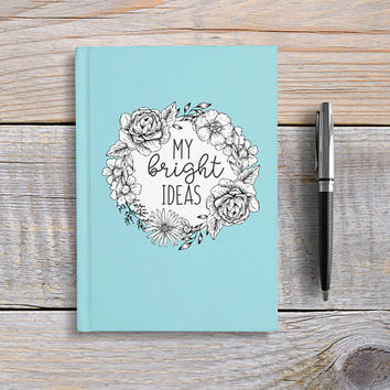 Writing Journal, Hardcover Notebook, Sketchbook, Diary, Unique Gift Under 20, Blank or Lined Pages, Gift for Writers - My Bright Ideas