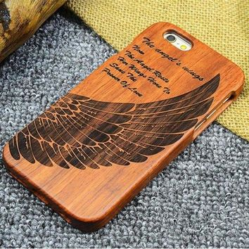 iPhone Natural Wood Case - Angel Wing