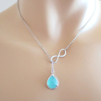 Infinity mint glass necklace, bridesmaid necklace, infinity necklace, infinity mint, birthday necklace, necklace for her, mother's day gift