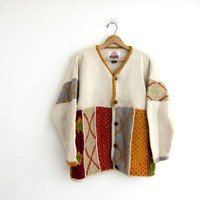 Vintage wool cardigan sweater. Chunky sweater. Slouchy knit cardigan. XL