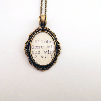 Gone with the Wind book necklace, Scarlett Ohara, old Hollywood, book lovers jewelry, Gifts under 30, gifts for mom