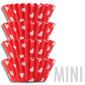Mini Red & White Hearts Baking Cups