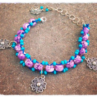 Beaded Blue & Purple Hemp Flower Anklet