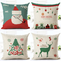 Christmas Series Cushion Cover Santa Claus Christmas Tree Christmas Gifts And Christmas Deer Printing Throw Pillow Pillowcase
