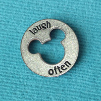 """Disney Pewter """"Laugh Often"""" Token Coin - """"Pieces of Magic"""" with Mickey Head Cutout"""