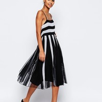ASOS Mono Mesh Fit And Flare Strappy Midi Dress With Low Back at asos.com