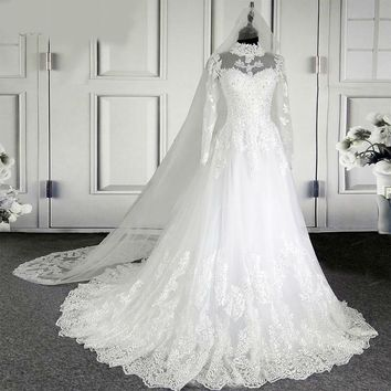 New High Neck Illusion Lace Wedding Dresses Ball Gown Long Sleeve Vintage Quality Bridal Wedding Dress