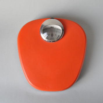 Vintage German Krups scale Mid Century Modern bathroom scale Eames Panton era 60s 70s orange tangerine home decor