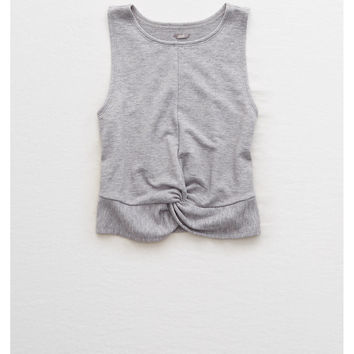Aerie Twist Front Fleece Tank, Medium Heather