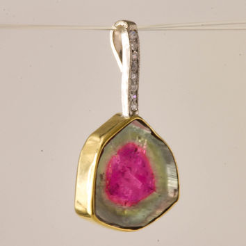 Watermelon tourmaline slice & diamond pendant