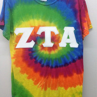 Zeta Tau Alpha Sorority Small Tie Dye T Shirt with Greek Letters -- Ready to Ship!