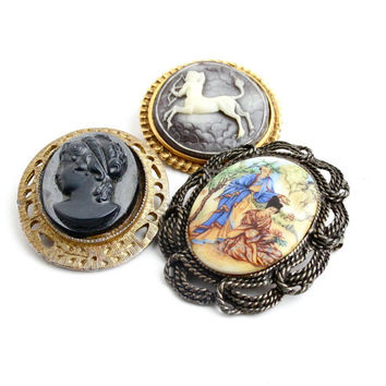 Vintage Cameo Brooch Lot - 3 Gold & Silver Tone Mid Century Costume Jewelry Pins / Greek God, Lady Cameo, Asian Couple