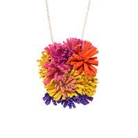 Colorful Furry Shag Fringe Leather Statement Necklace, Flower Fiber Art Jewelry | Boo and Boo Factory - Handmade Leather Jewelry