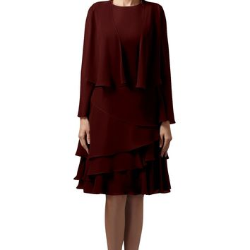 Helen Fontaine Short A-line Chiffon Mother of the Bride Dress with Jacket