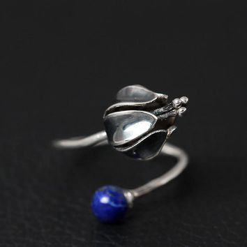 925 Sterling Silver Vintage Lapis Lazuli Flowers Open Rings For Women High Quality Lady Prevent Allergy Sterling-silver-jewelry