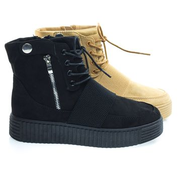 Stealthy11 Black Ribbed Textured Rubber Sneaker Flatform Lace Up Combat Ankle Bootie