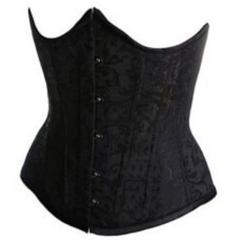 Lace-Up Design Solid Color Slimming Stitching Embellished Bustiers For Women