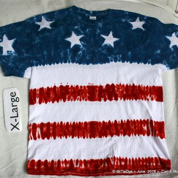 Adult XL Red White & Blue Flag tee