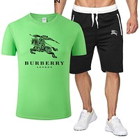 Burberry New fashion letter war horse print top and shorts two piece suit men Green