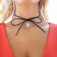Like Lightning Black Bow String Choker With Stone