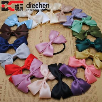 DCCKHY9 2pc assorted colors sweety solid satin ribbon bows elastics rubber bands hair rope hair ties accessories for women headwear
