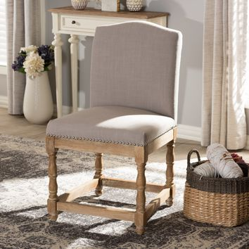 Baxton Studio Paige French Vintage Cottage Weathered Oak Finish Wood and Beige Fabric Upholstered Dining Side Chair Set of 1