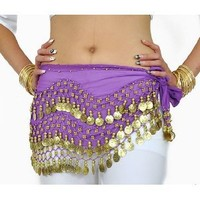 Urparcel Gold Coins Belly Dance Skirt Purple (Great Gift Idea)