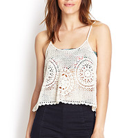 FOREVER 21 Open-Knit Cami Cream
