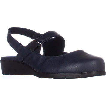 Easy Street Chessa Slingback Mary Jane Flats, Navy, 7.5 W US