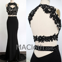Two Piece Mermaid Lace Jersey Black Prom / Evening Gown with Sweep Train