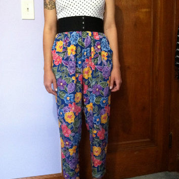 Floral pin up vintage inspired pant jumpsuit
