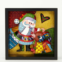 Enesco Romero Britto Rudolph & Santa Pop Art Block NIB 4039614