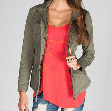 Full Tilt Twill Womens Anorak Jacket Olive  In Sizes