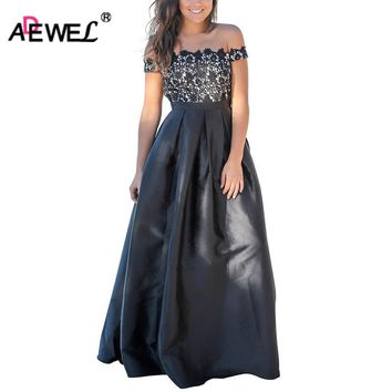ADEWEL 2018 Women Formal Crochet Lace Off Shoulder Floor Long Dresses Vintage High Waist Pleated Big Hem Maxi Long Party Dress