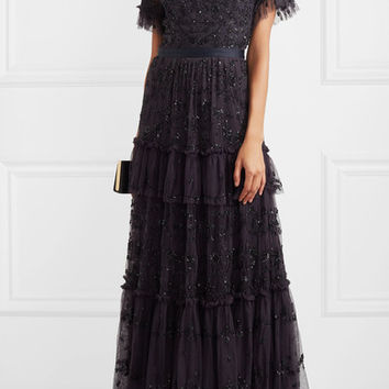 Needle & Thread - Constellation tiered embellished tulle gown