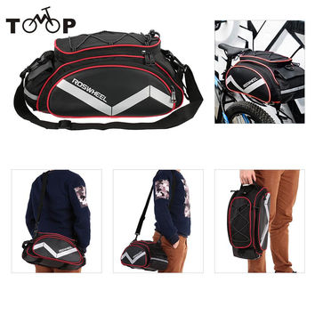 ROSWHEEL Bicycle Bag Multifunction 13L Bike Tail Rear Seat Bag Cycling Bicycle Basket Rack Trunk Bag Shoulder Handbag