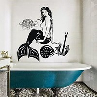 Mermaid Wall Decals Lotus Decal Vinyl Anchor Sticker Bathroom Window Nursery Bedroom Home Decor Interior Art Murals Ah192