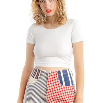 Vintage 90's Americana Patchwork Shorts - XS/S/M