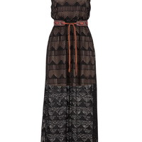 Chevron And Stripe Lace Maxi Dress - Black