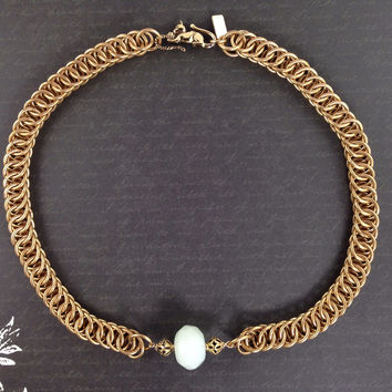 Amazonite Gemstone Persian Weave Necklace