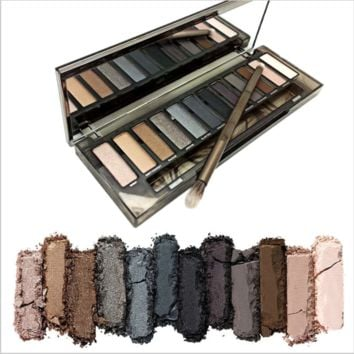 NAKE Smoky Makeup Eyeshadow Palette 12 Colors Eye Shadow with Brush