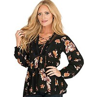 Vintage Havana Women's Black Floral Print with Mesh Detials Long Bell Sleeve Peasant Fashion Top