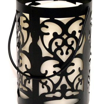 "7"" Black Metal Flourish Lantern with Bisque LED Lighted Flameless Indoor/Outdoor Pillar Candle"