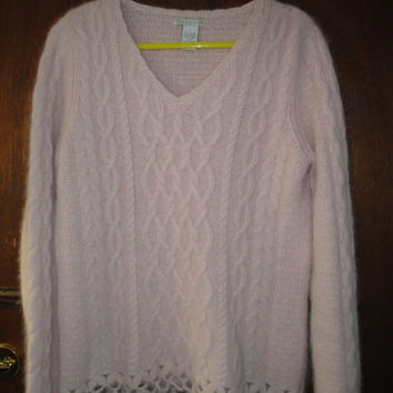 Womens Vintage Tweeds Light Pastel Pink Angora Blend Sweater L Large