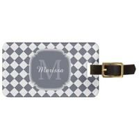 Trendy Gray and White Checked Monogrammed Name Travel Bag Tags