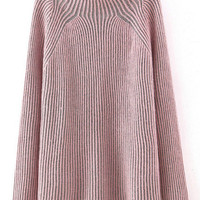 Pink Mock Neck Striped Patterned Sweater