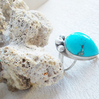 Natural Sleeping Beauty turquoise sterling silver cocktail ring, freeform raw stone, minimalist forged artisan jewelry, size 6